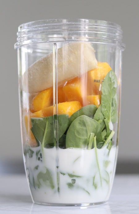 smoothie ingredients in blender