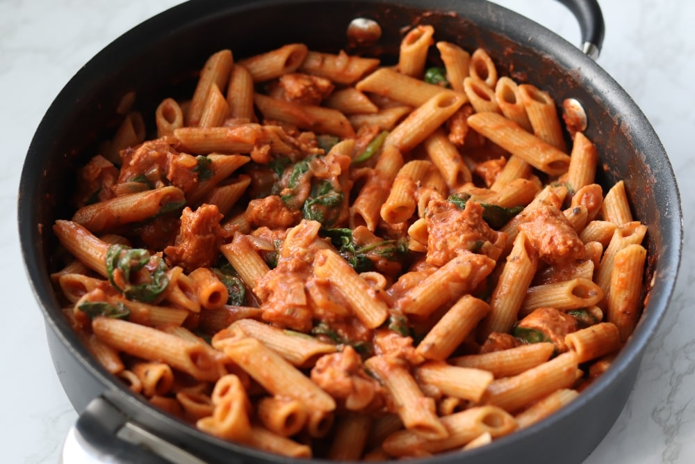 Creamy Tomato Pasta with Sausage & Spinach