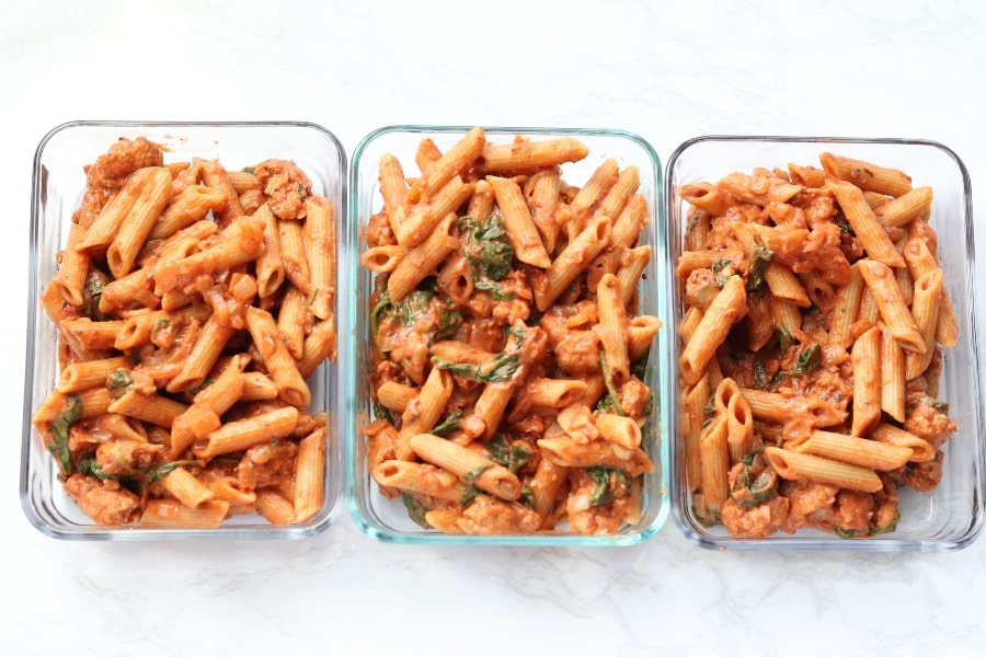 pasta in glass container