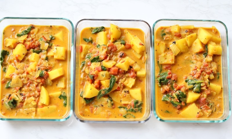yellow curry in containers