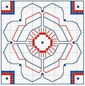 Bath Mosaic Needlepoint – Central Medallion & Borders 1