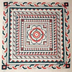 Bath Mosaic blackwork project on Congress Cloth