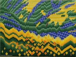Barbara's Ravine needlepoint bargello landscape by Liz Morrow