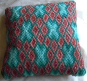 rust and turquoise Elsa Williams bargello