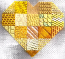 canary sapphire heart needlepoint stitch sampler, designed by Janet Perry