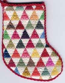 Scrap Bag Needlepoint – Pyramids Mini-sock