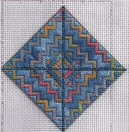 needlepoint ornament stitched with overdyed vineyard silk and filomell silk