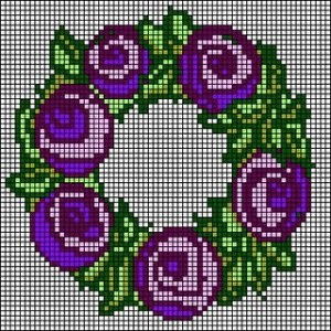 berlinwork garland of roses needlepoint chart