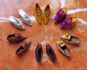 miniature shoes stitched on silk gauze by patricia richards