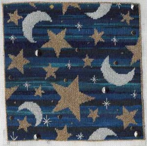 stars and moons needlepoint canvas