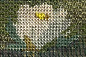 impressionist painting done in shadow stitching, needlepoint class by needlepoint expert Janet M. Perry