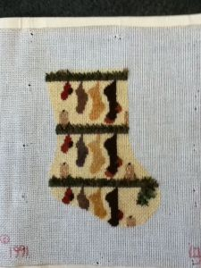needlepoint mini-sock stitched with dragonfly lotus threads by needlepoint expert janet m. perry