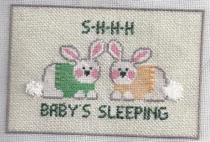 bunny baby needlepoint gift, stitched by needlepoint expert janet m perry
