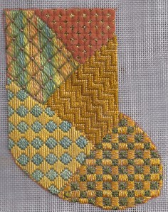 needlepoint stitch sampler mini-sock, learn a stitch, designed by needlepoint expert janet m. perry