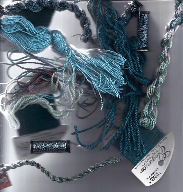 teal needlepoint threads