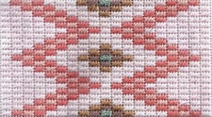 Cashmere stitch needlepoint based on Native American rug pattern, designed and stitched by needlepoint expert janet m. perry