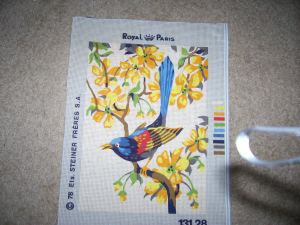 vintage bird needlepoint