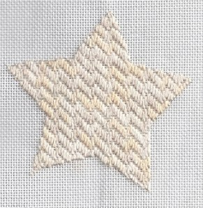 skip-a-row gobelin star needlepoint, designed and stitched by needlepoint expert janet m. perry