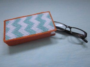 plastic canvas needlepoint eyeglass case designed by jenny henry