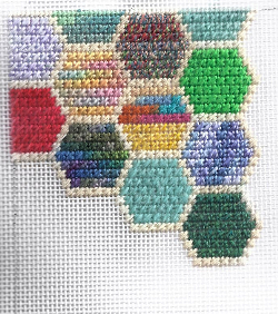 hexipuff mosaic stitch needlepoint, designed and stitched by needlepoint expert janet m. perry