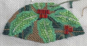 Lee Needleart leaf stitched by needlepoint expert Janet M. Perry