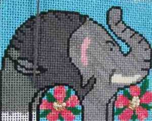 Cat's Cradle elephant stitched by needlepoint expert Janet M.Perry