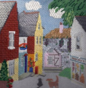 needlepoint English village