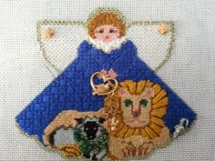 lion & lamb angel needlepoint from Painted Pony