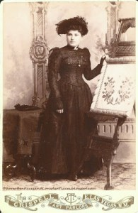 vintage photo of woman with needlepoint