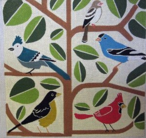 birds in a tree, mid-century modern needlepoint