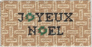 Joyeux Noel with needlepoint damask