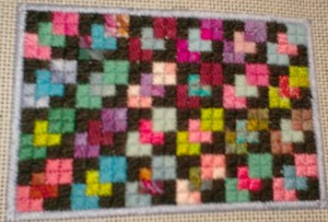 overlapping squares needlepoint quilt ornament