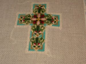 varigated pepperpot thread in needlepoint cross