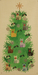 cat needlepoint Christmas tree canvas