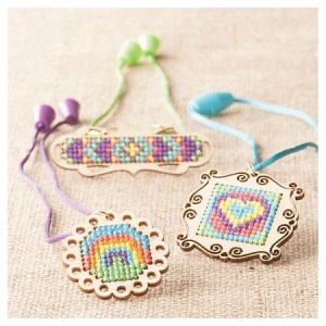 cross stitch pendants from Target