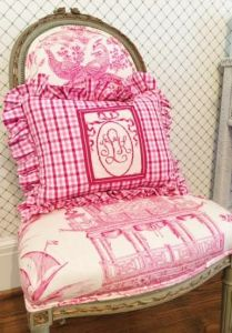 pink monogram needlepoint pillow