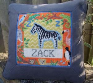 Z for Zebra Jolly Red Needlepoint pillow