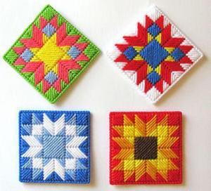 plastic canvas needlepoint coasters