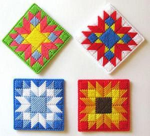 plastic canvas needlepoint coasters