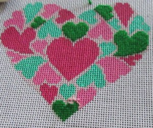 needlepoint heart stitched with Rainbow Persian