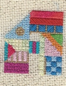 needle A using scrap threads