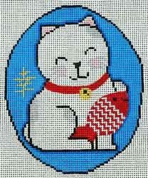 Japanese good luck cat needlepoint canvas