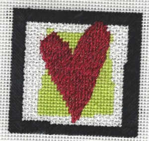 pippin needlepoint heart mini canvas