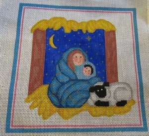 Vintage nativity needlepoint canvas