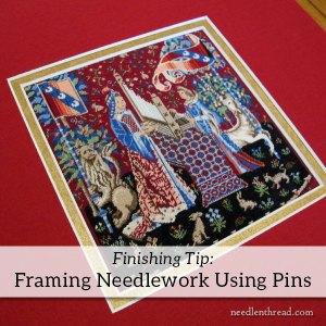 framing needlework using pins