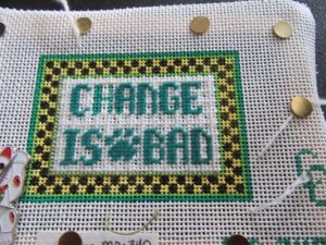 beginners needlepoint canvas stitched in Tent with different threads