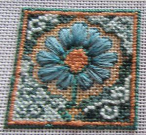 Arts & Crafts flower needlepoint