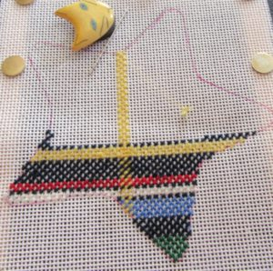 Irish National needlepoint tartan in star outline