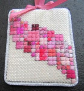 Pink Scrap Bag needlepoint ornament