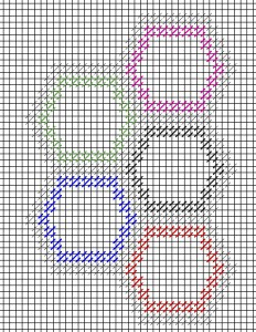 chart showing needlepoint hexipuffs fitting together